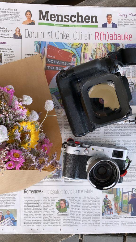 Maskenporträts im Blumenladen - neue Presse 2020 artikel